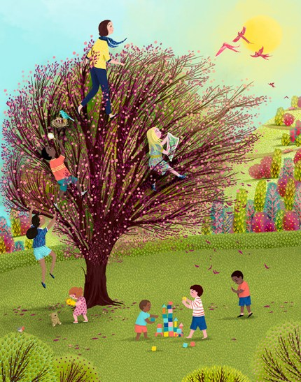 Illustration of kids playing in a tree, from kid to adulthood