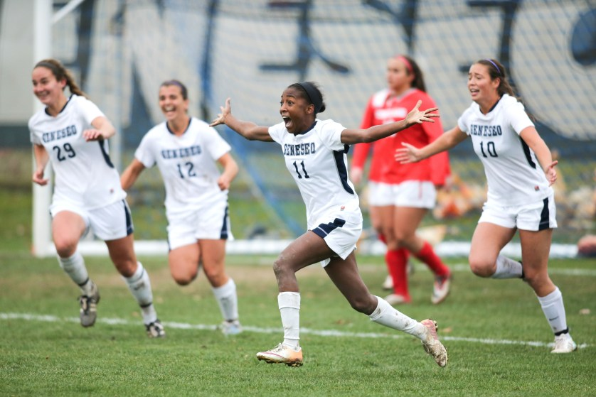 Leah Greene '18 celebrates after a goal.