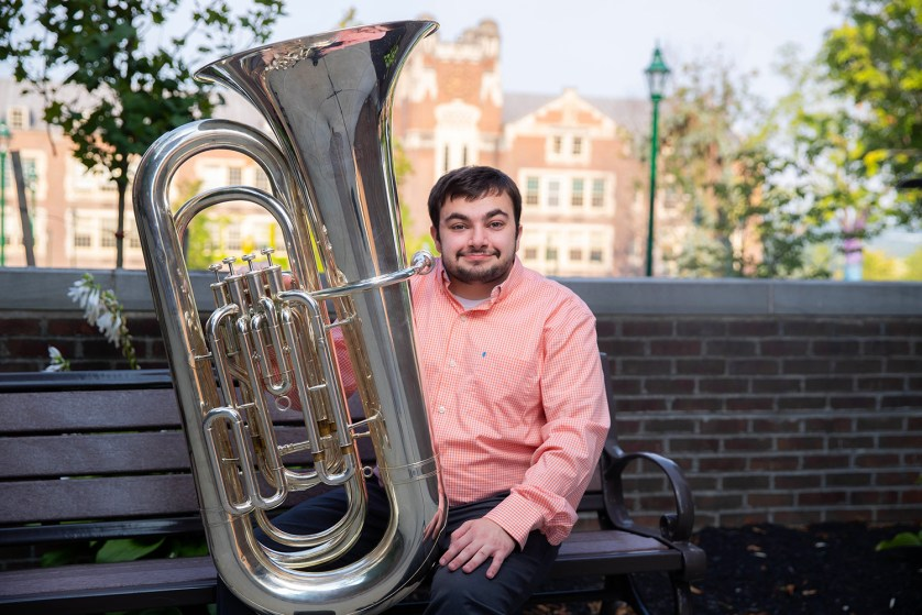 Josh DeBell '21 with his tuba.