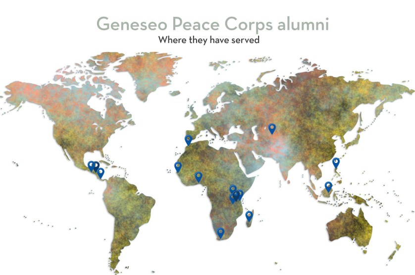 Map showing the countries where alumni have served in the world.