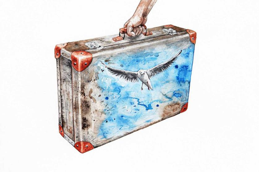 A person holds a suitcase that is painted with a seagull on it.