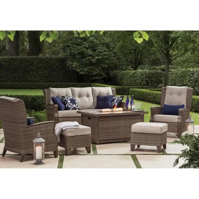 member s mark agio newcastle 6 piece patio deep seating set with fire pit and sunbrella fabric cast ash