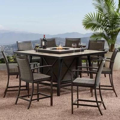 member s mark agio denver 9 piece balcony height fire pit dining set