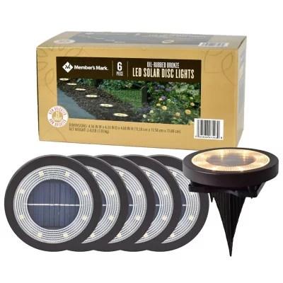 member s mark 6 piece led solar disc lights oil rubbed bronze