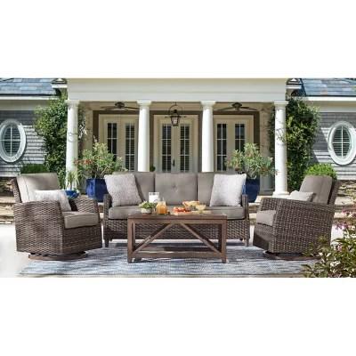 member s mark agio fremont 4 piece patio deep seating set with sunbrella fabric grey