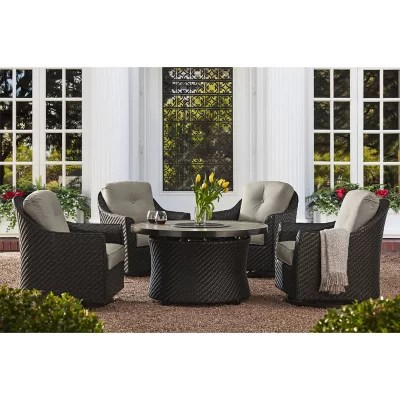 member s mark agio heritage 5 piece fire pit chat set with sunbrella fabric shale