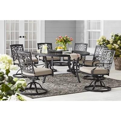 member s mark agio hastings 8 piece round patio dining set with sunbrella fabric