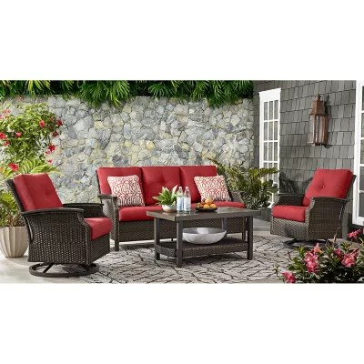 member s mark agio stockton 4 piece patio deep seating set with sunbrella fabric cherry