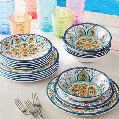 member s mark 18 piece melamine dinnerware set assorted colors