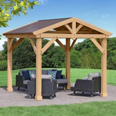 yardistry 10 x 10 all cedar gazebo with aluminum roof