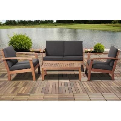 valencia eucalyptus patio deep seating set with black cushions 4 pcs