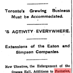 'Millions Put in New Buildings: Toronto's Growing Business Must be Accommodated' – The Globe: March 19, 1907