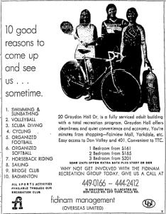 Graydon Hall Ad July 29 1972