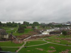 Falls Park, is established around waterfalls on the Big Sioux River
