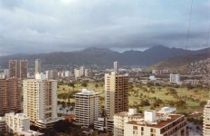 Overlooking the magnificent skyline of Honolulu on the island of Oahu