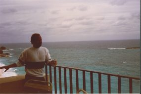 My co-worker in Nassau, Bahamas 1988 February Overlooking the Atlantic
