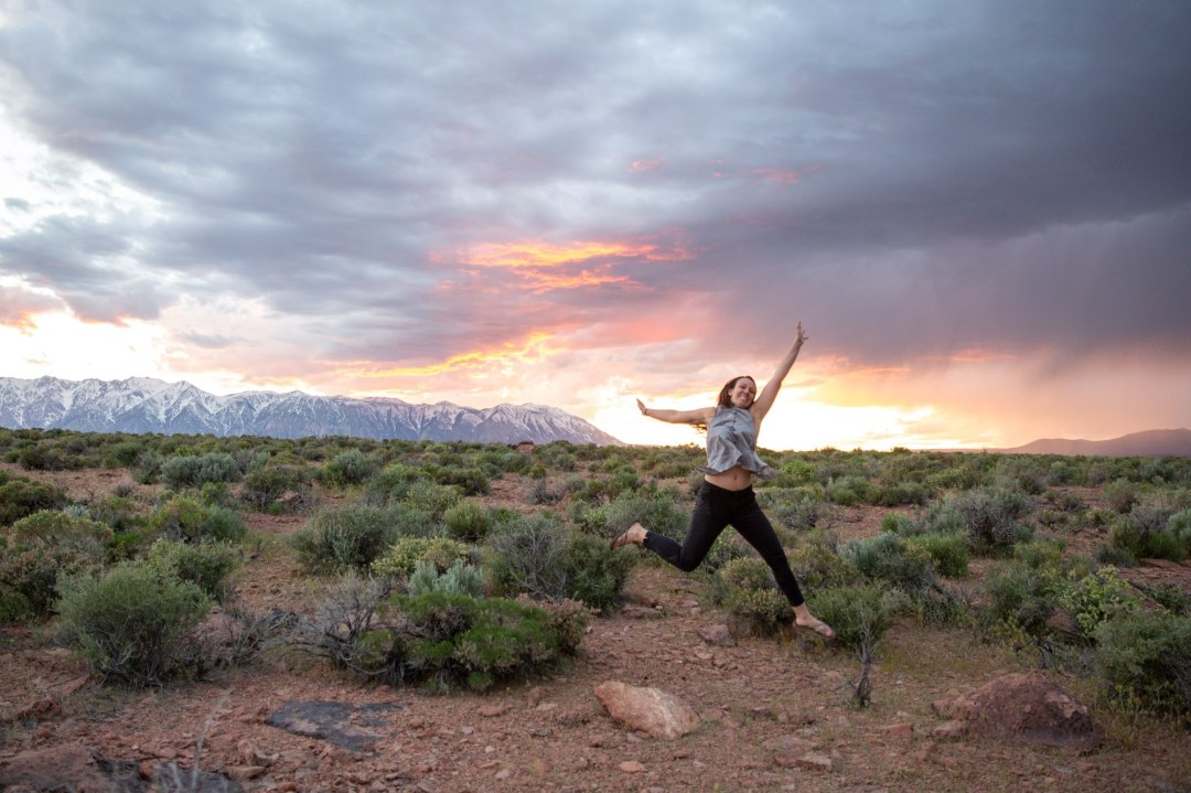 Becky's psyched on this epic sunset!