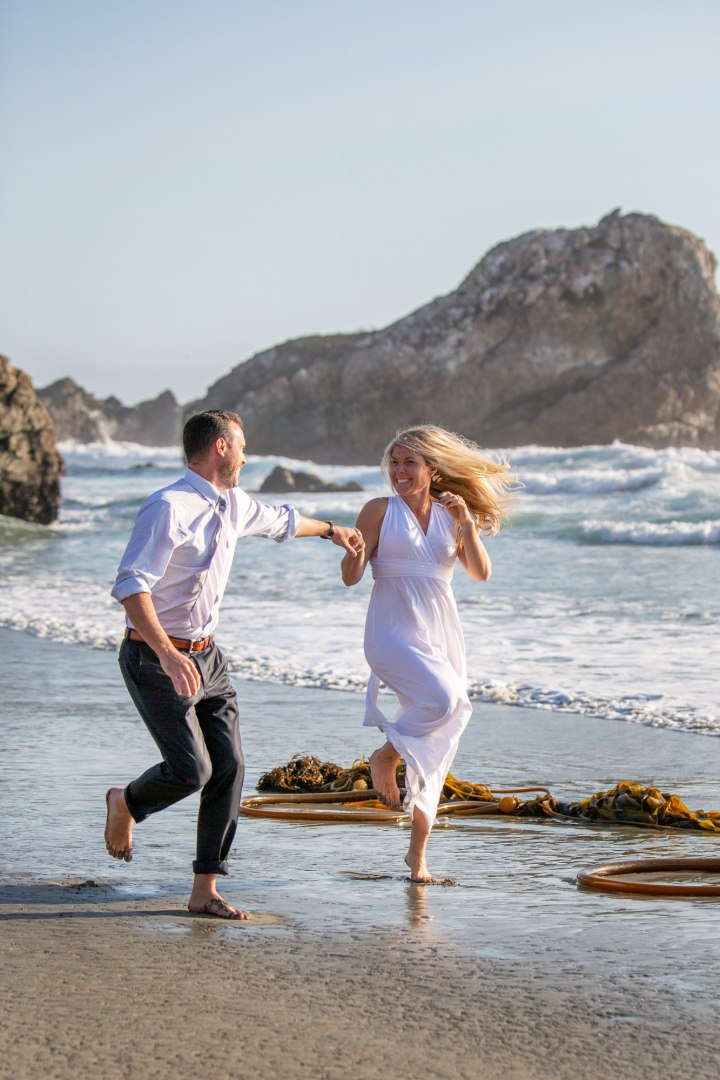 These tow couldn't get enough of this amazing beach they picked for their adventure elopement!