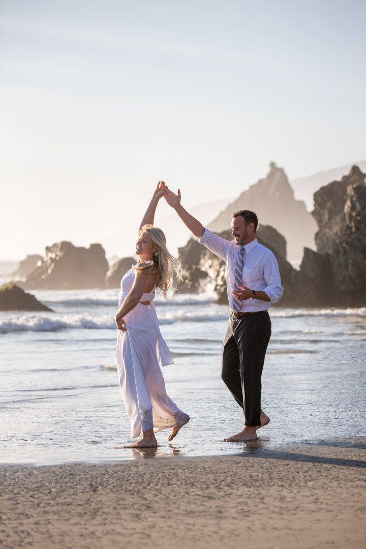First dance on the beach is the way to go! These two danced into the golden light during their Big Sur elopement.