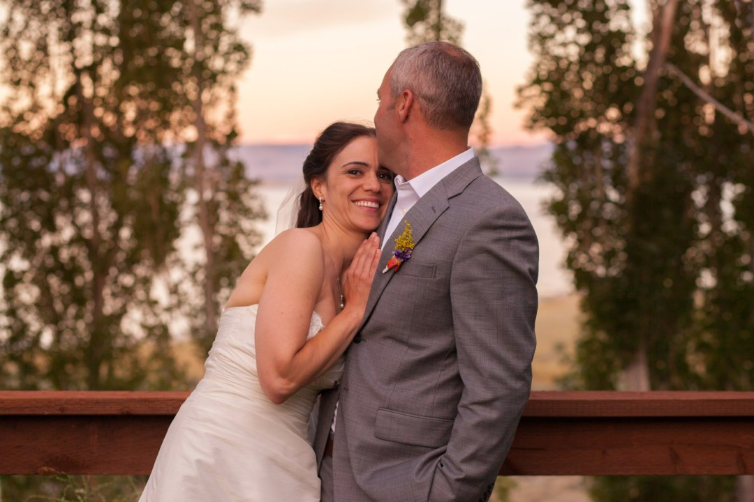 Bride and groom celebrating after a beautiful Yosemite elopement in the high country of the Sierra Nevada.