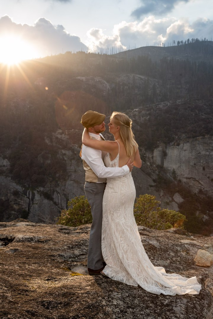 First dance in the setting sun, after a beautiful Yosemite elopement.