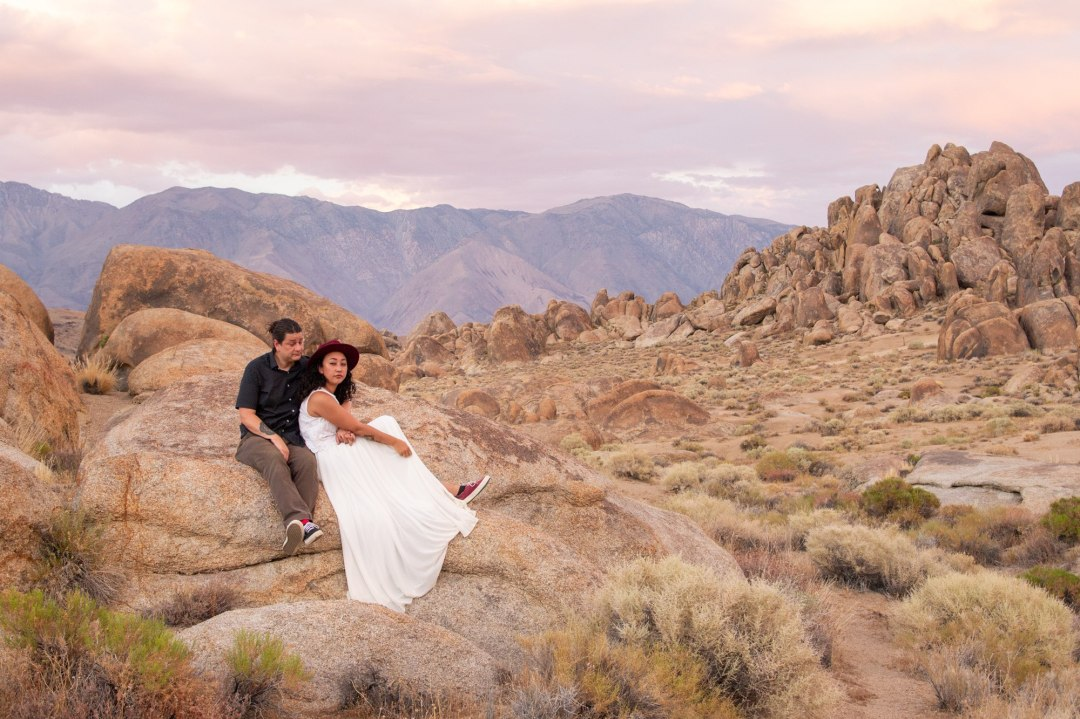 Couple sits and reflects on all of the elopement ideas they had for their Alabama Hills Elopement.