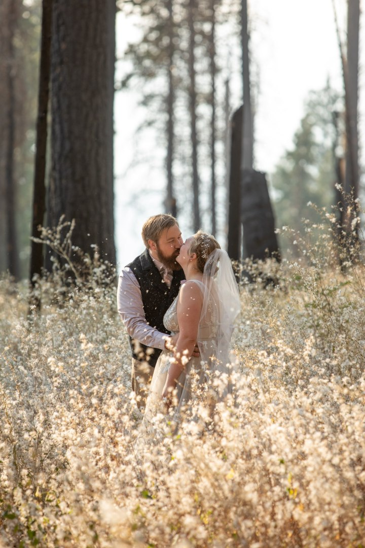 Newlyweds kiss in a field of poofy flowers after their adventure wedding in Yosemite.