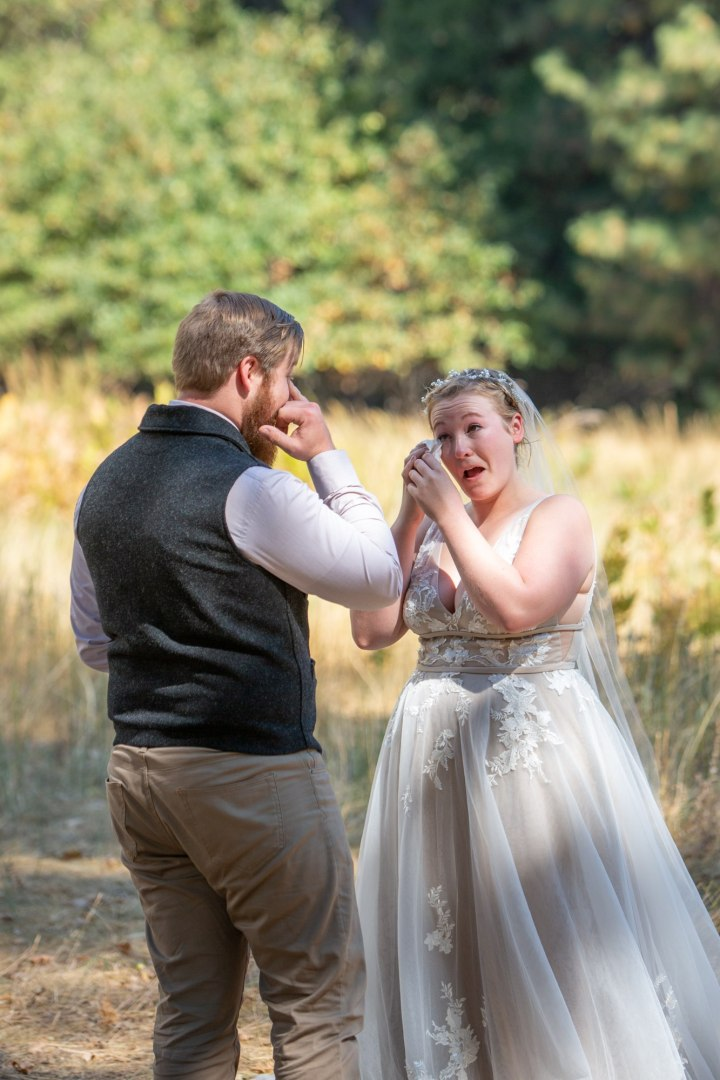 Private vow exchange brought bride and groom to tears during their elopement ceremony.
