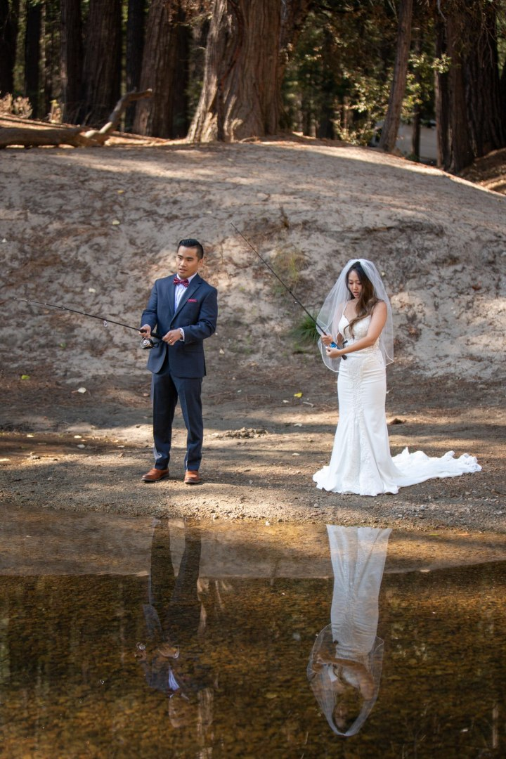 Brand new newlyweds carve in some time to try their luck fishing in the Merced!  Now this is a unique elopement and we love it!