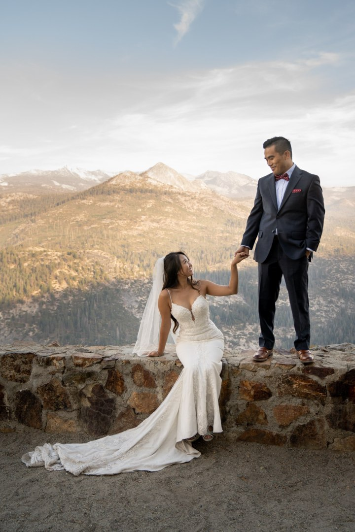 Couple taking in the moment after just being married during their Yosemite Elopement.