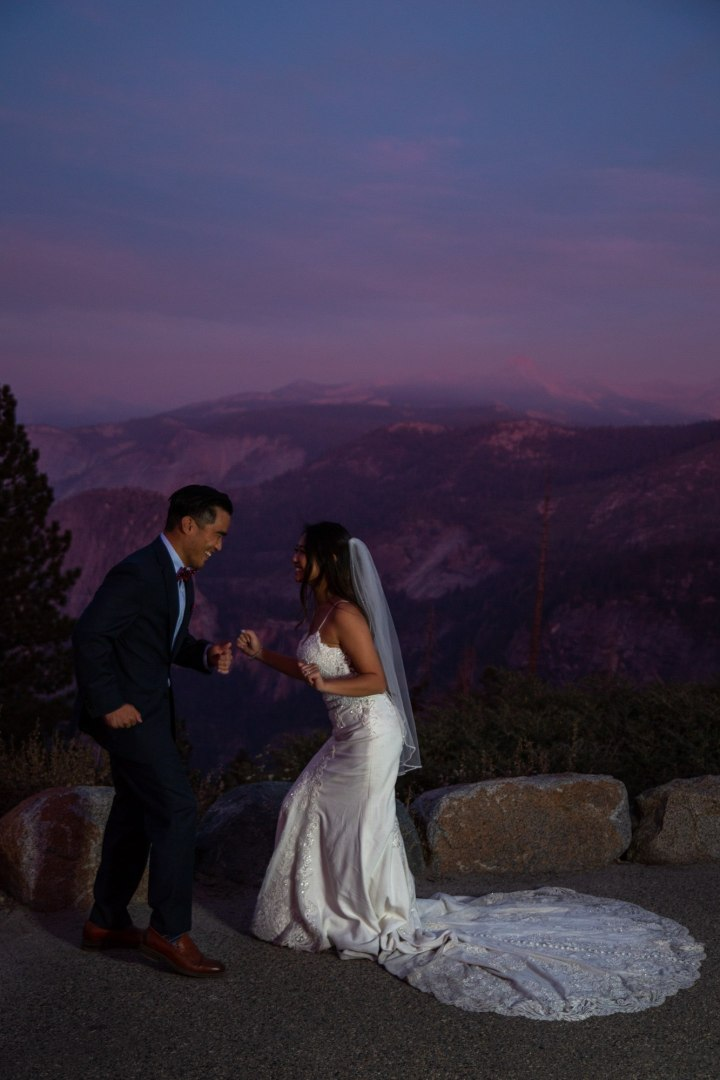 Dancing the night away under the stars,  is there any better way to end a Yosemite elopement?!