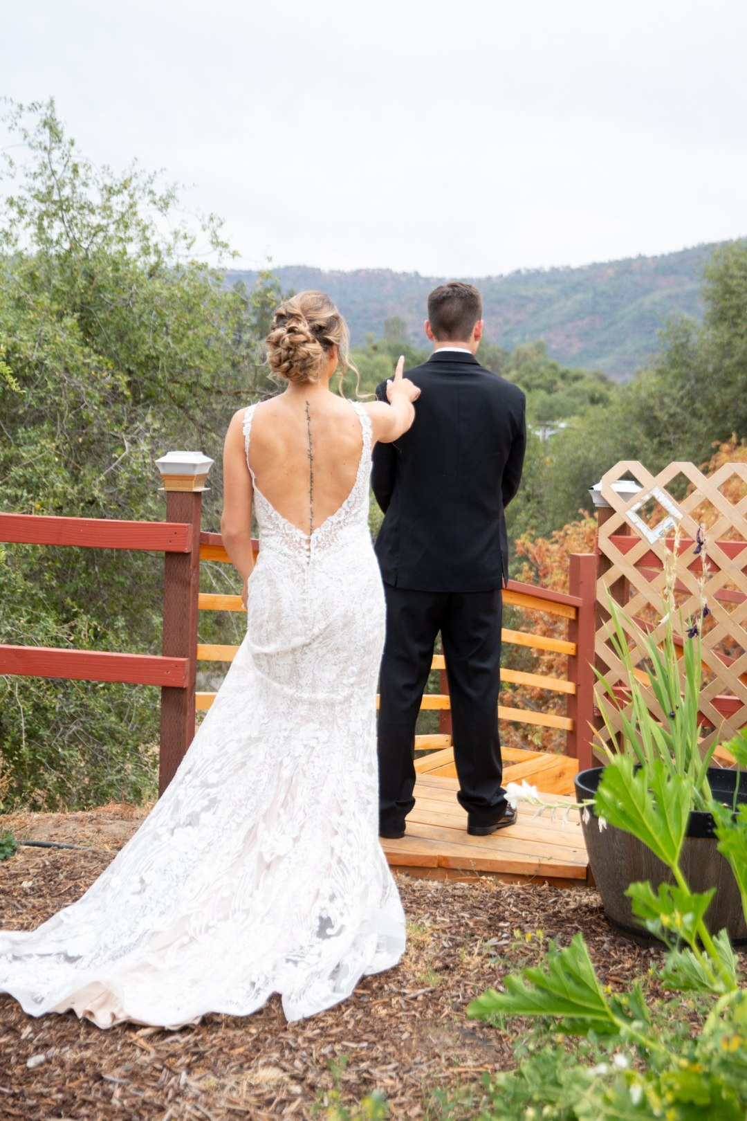 Bride about to surprise groom for first look at Yosemite Airbnb