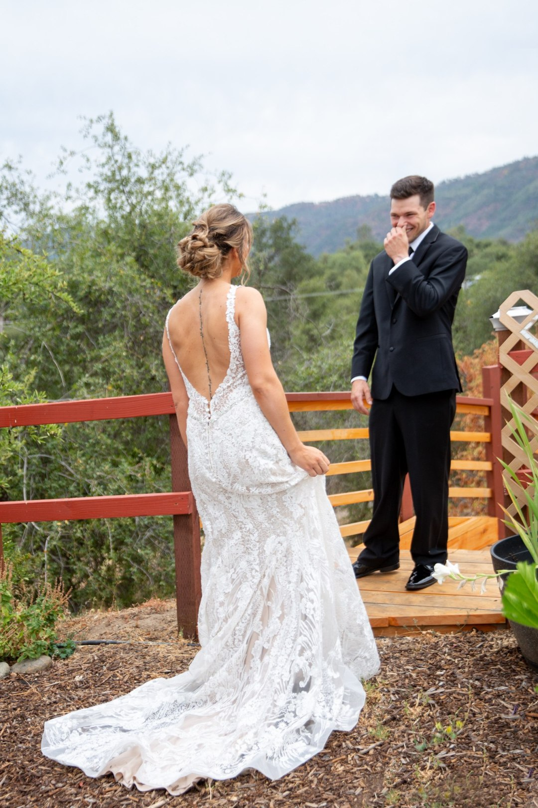 Grooms priceless reaction to the first look of his Yosemite bride to be.