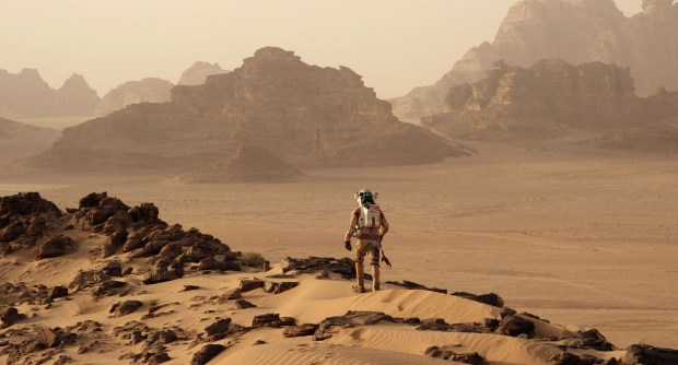 The Martian landscape and the martian himself, Mark Watney.