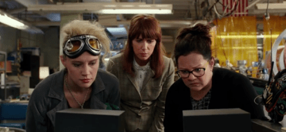 Katie McKinnon, Kristen Wiig and Melissa McCarthy looking at all the bad reactions to their slimy escapade.