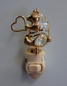 Gold Gold Bear with Heart Night Light
