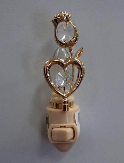 Gold Rose Heart Night Light