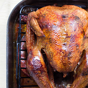 photo of cooked turkey in broiler pan