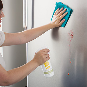 photo of woman cleaning refrigerator with Scentsy Clean
