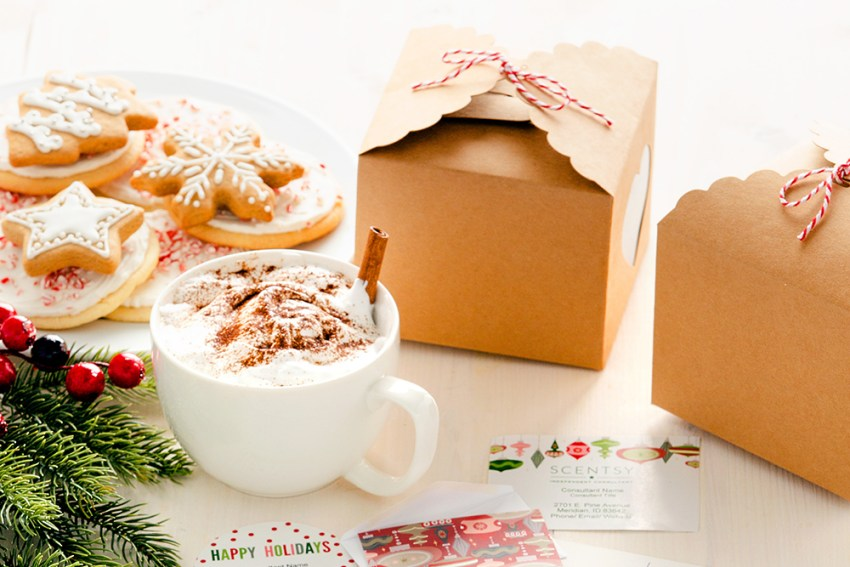 Photo of cocoa and Scentsy cards