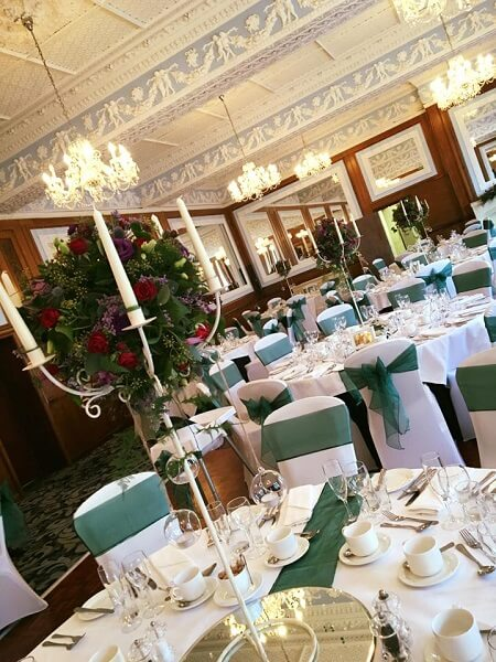 Cream Candelabra Green Chair Covers Table Runners