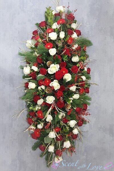 rose casket spray