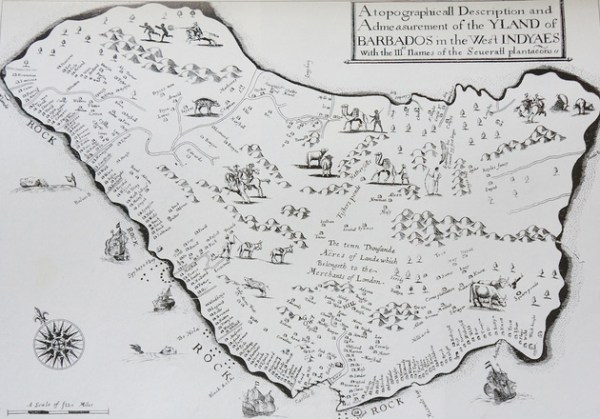 A black and white print of Barbados showing slave plantations