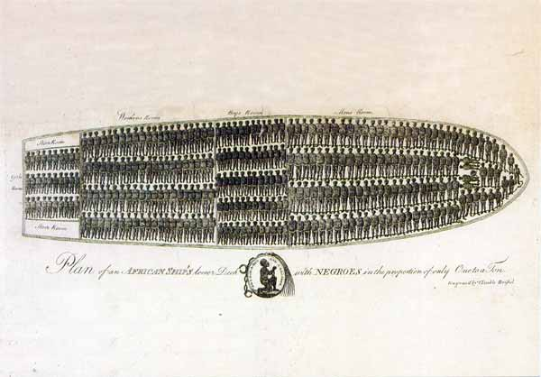 etching of tightly packed slave ship