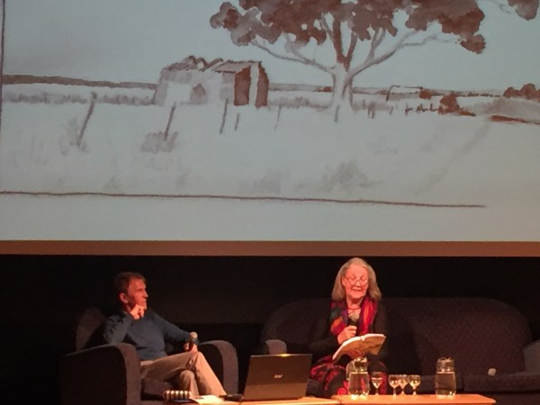 Morag Henriksen reading to the audience at Skye Book Festival