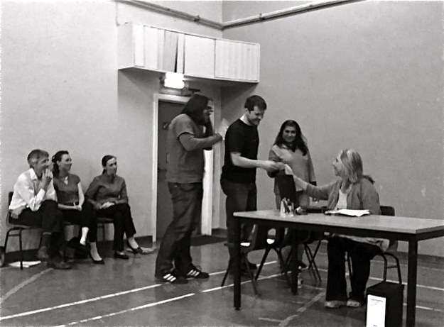 Members of the audience line up to change the outcome of the play