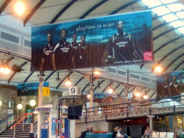 Nothern Rock sponsorship advertisement, Newcastle Station