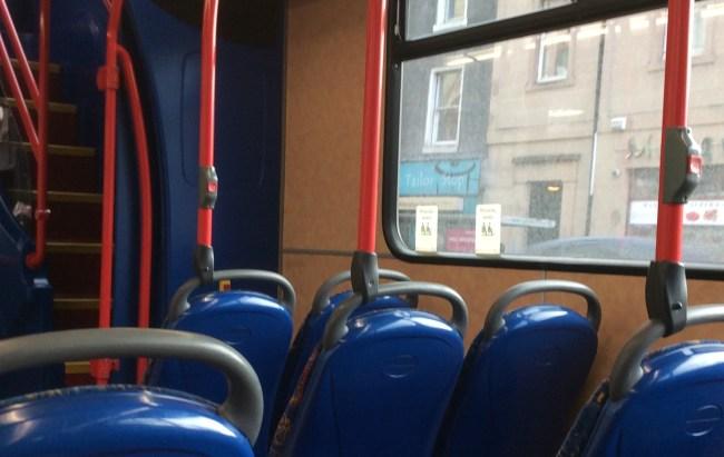 Empty priority seats on the Number 14 bus through Edinburgh