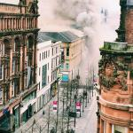 Rooftop view. Looking down Sauchiehall Street towards the fire of March 2018. Glasgow fire: smoke on Sauchiehall Street. Alasdair Clark CC By-SA-2.0