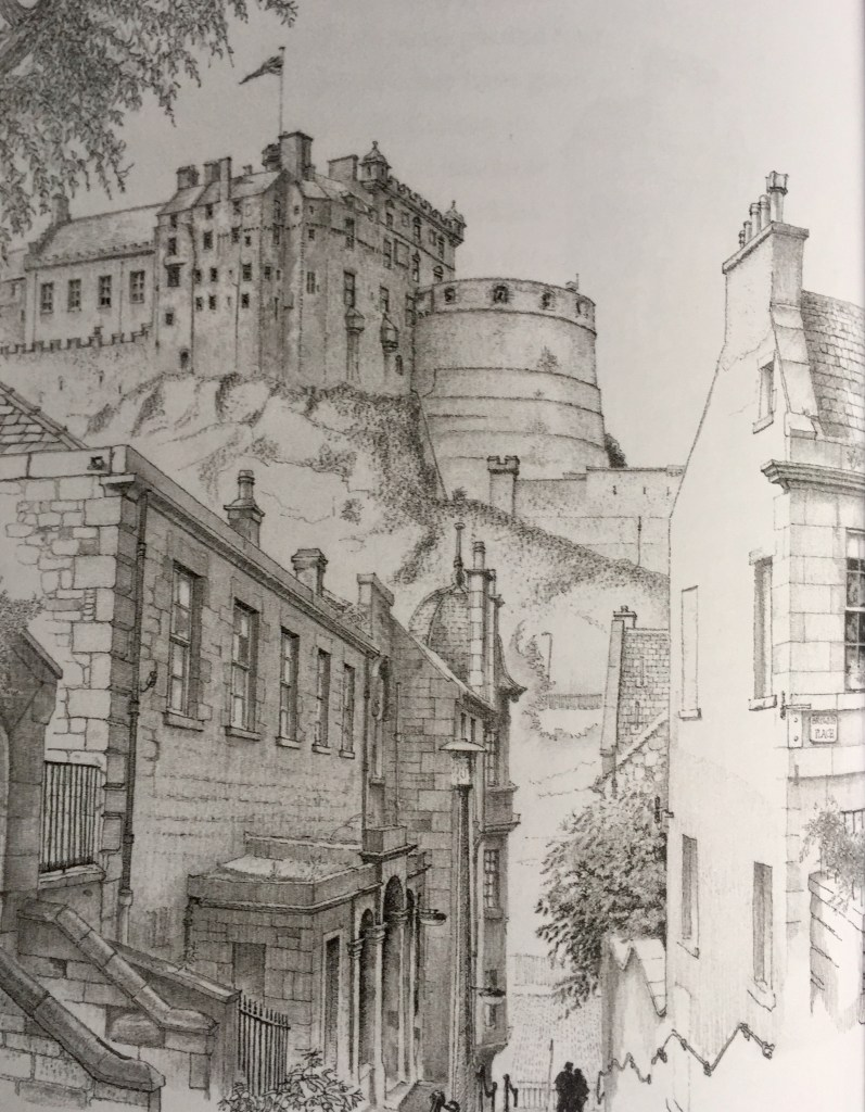 A drawing of Edinburgh Castle seen from the vennel above Grassmarket, by John Knight